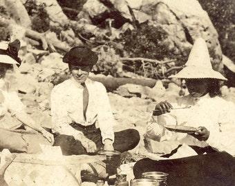 PICNIC On The BEACH with Hats Photo Postcard Circa 1915