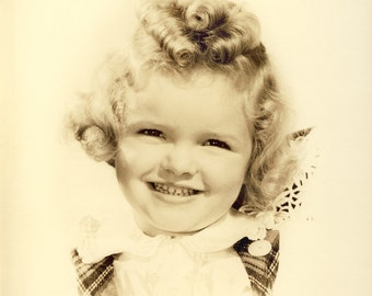 Cute Young GIRL with CURLY Shirley Temple Like Hair in 8x10 Photo Circa 1930s
