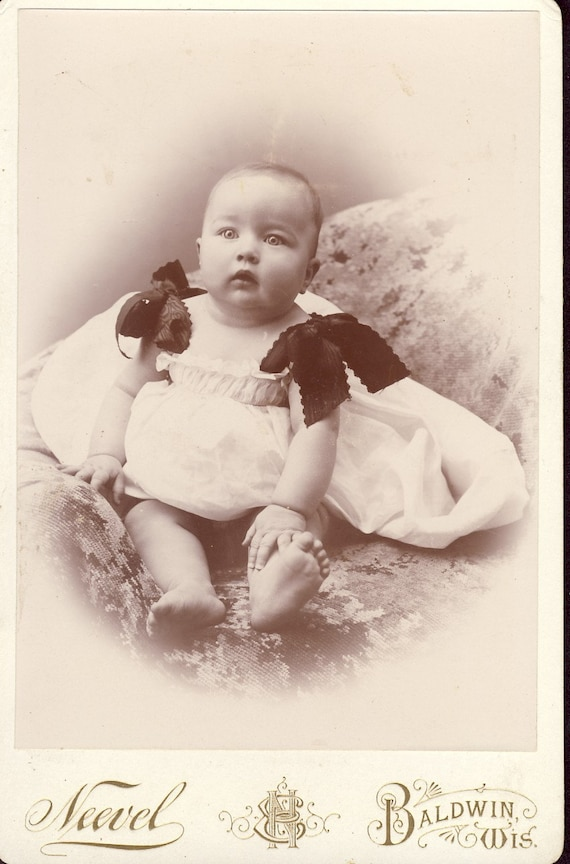 Darling Little Girl in a White DRESS with Dark BOWS on Her SHOULDERS Baldwin Wisconsin Cabinet Photo Circa 1890