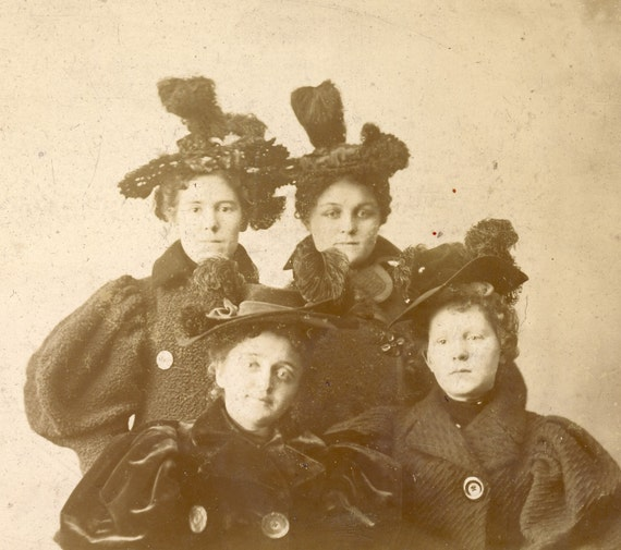 Four Women with SIMILAR FEATHER HATS and Puffy Sleeved Coats Cabinet Photo Circa 1890