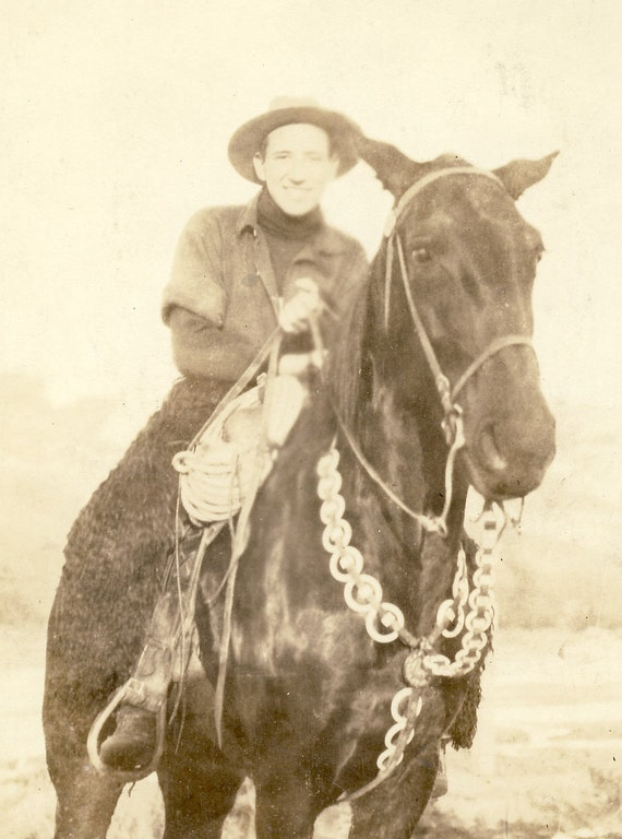 Cowboy Proudly Dislays His HORSE with SILVER BREASTPLATE Western Photo Postcard Circa 1910s