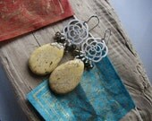 Flowers and Honey Yellow Howlite Turquoise Pendant Earrings