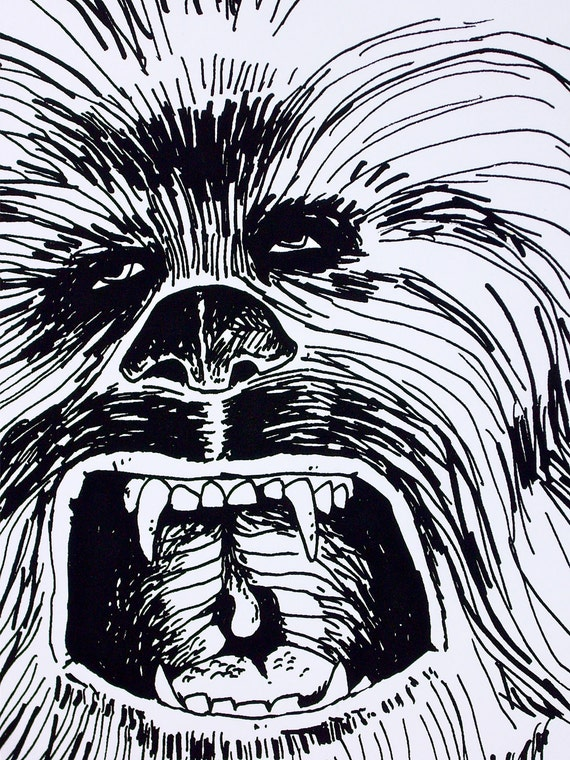 Screen printed Chewbacca poster -Star Wars- Your favorite wookie