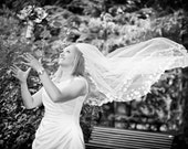 "Petal Veil Fingertip 45"" Inch Wedding Veil with Petals"