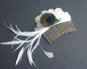 Peacock Feather Fascinator - White Feather Clip - Bridal Feather Comb - Feather Fascinator