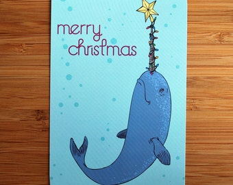 10/pk Merry Christmas Narwhal Postcard