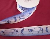 Renaissance Ribbons, Blue BIRD wire ribbon, 1 yard, SALE