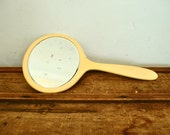 Vintage Hand Mirror Large Buttery Yellow Celluloid
