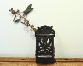 Vintage Black Iron Match Holder