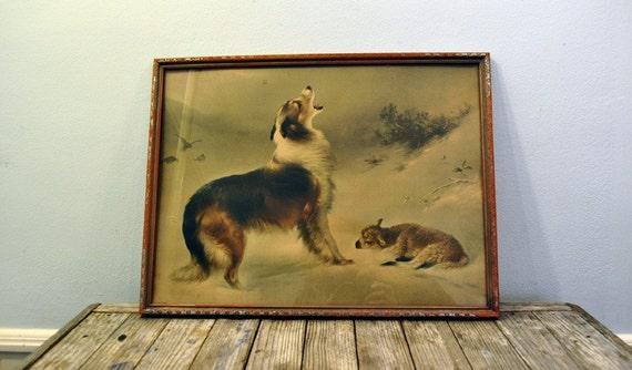 Vintage Framed Print by W. Hunt titled Found Shepherd Dog Lamb