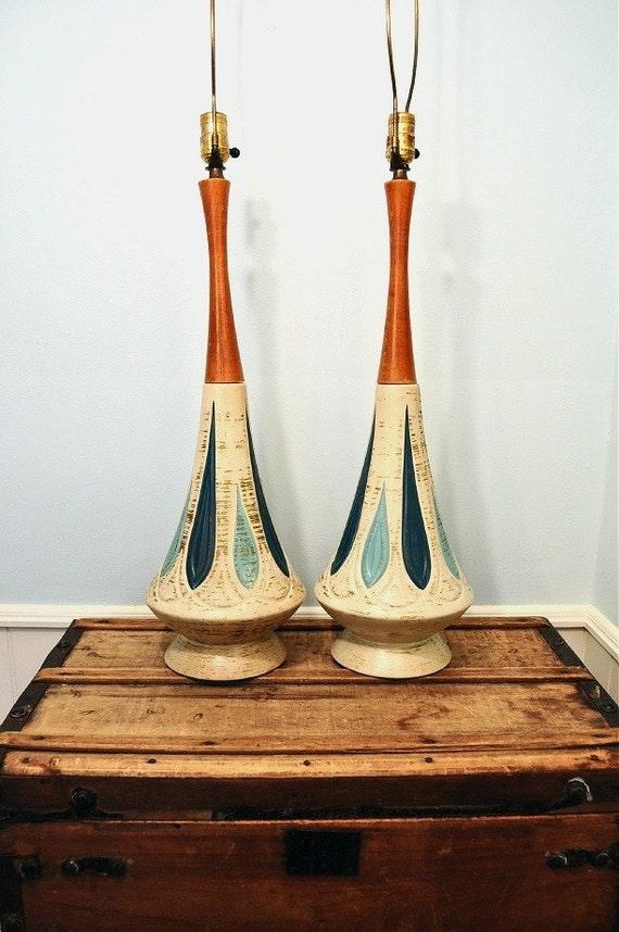 Vintage Pair of Mid Century Atomic Eames Era Ceramic Lamps