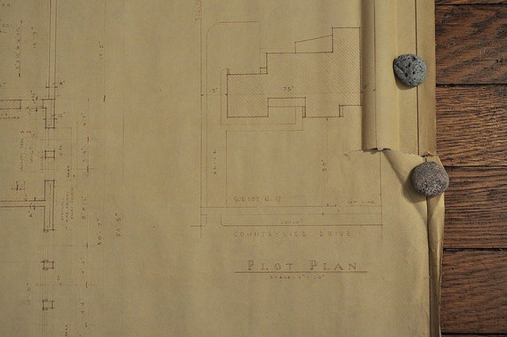 RESERVED Vintage House Blue Print Architectural Drawing