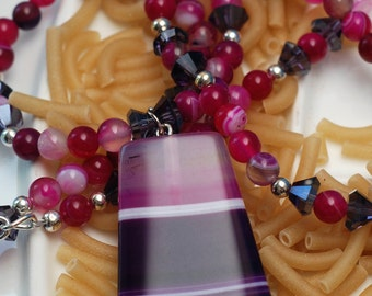 Pink Banded Agate and Czech Crystal Neclace Set  Candied Agate