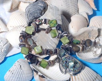 Abalone and Mother of Pearl  necklace and earrings