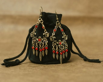 Antiqued gold and Red chandelier earrings