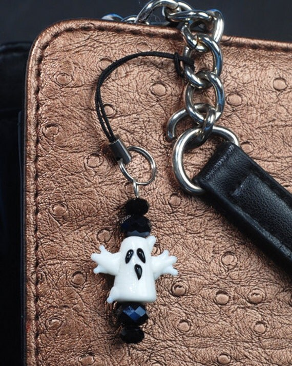Ghost Lampwork Cell Phone Charm or Zipper Pull