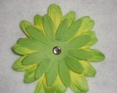 Green and Yellow Fabric Flower Clip