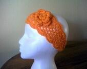 Crochet Headband w Matching Flower-- tangerine