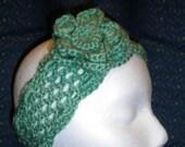 Crochet Headband w Matching Flower -sage green