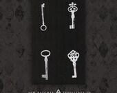 Antique Skeleton Keys - Black Canvas Patch