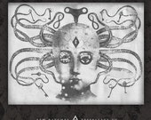 Medusa Phrenology Doll Head - Canvas Patch