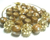 Basketball Wives Earrings Inspired - Rhinestone WOOD Beads - (12 mm) - Brown - 20 pieces