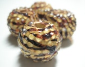 22 mm  - Basketball Wives Earrings Inspired  - Rhinestone Resin Beads - Brown Zebra Print  - 4 pieces