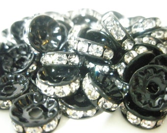CLOSEOUT CLEARANCE SALE - Black Rondelles with Rhinestones (10mm) (200 pieces)