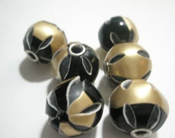 CLOSEOUT - Lot of 65 pieces - BLACK/GOLD Leather Beads (18 mm)