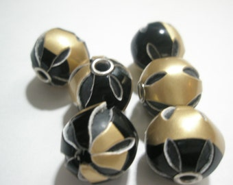 12 pieces - BLACK/GOLD Leather Beads (18 mm) - Basketball Wives Inspired