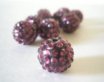 16mm - HOT NEW ITEM -10 Rhinestone Resin Balls - Plum Purple Basketball Wives Inspired