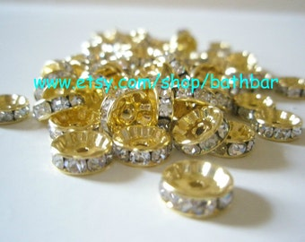 50 pieces - Basketball Wives Inspired GOLD Rondelles (10mm)