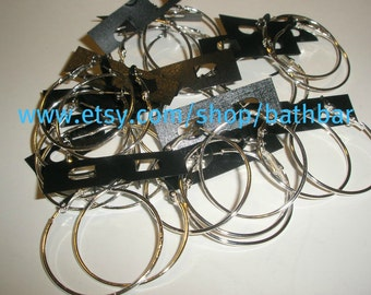 1 1/4 inches - Basketball Wives SILVER Hoop Earrings  (6 pairs)