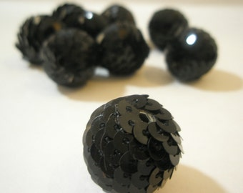 20 mm - BLACK Sequin Beads - Basketball Wives Inspired (4 pieces)