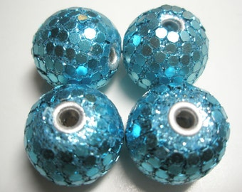 25mm - Turquoise Blue Gumball Beads -  Basketball Wives Inspired - 4 pieces