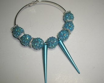 51mm (Large) - Basketball Wives Inspired  TURQUOISE SPIKES (20 pieces)