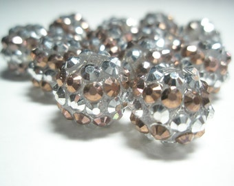 CLEARANCE SALE NEW 14 mm -Basketball Wives Inspired - 50 pieces Rhinestone Resin Beads/Spacers - Silver/Bronze Stripe