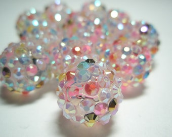 16 mm - NEW Basketball Wives Inspired- 10 Rhinestone Resin Beads/Balls - PINK Multi-Colored