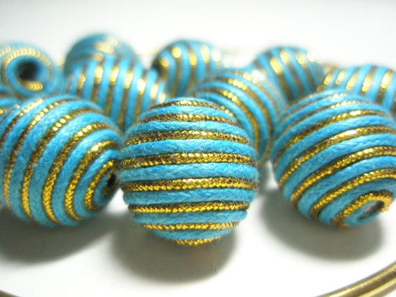 TURQUOISE/GOLD Basketball Wives Inspired Woven beads (14 mm) - 10 pieces
