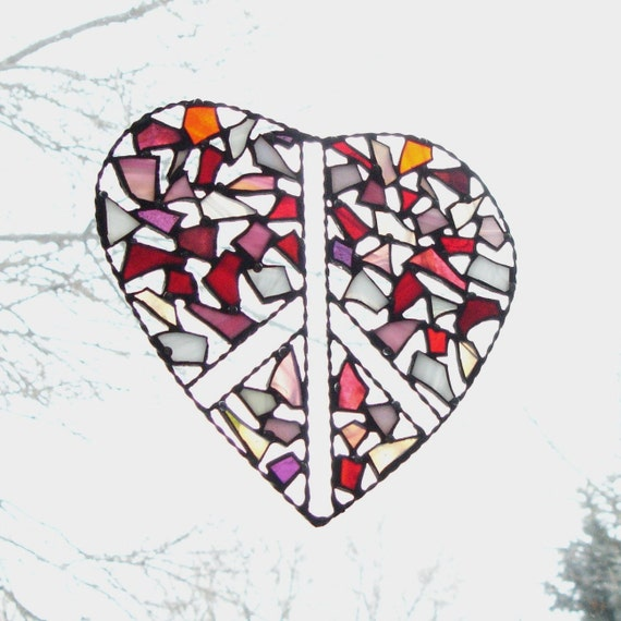 Glass Heart Peace Sign Stained Glass Suncatcher