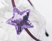 Girls Purple Headband Star and Sparkling Sequins