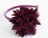 Flower headband - burgundy