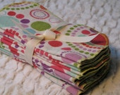 Washable wipes. Double layer cotton flannel. Multi-colored circles and dots. Set of 10