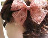 Romantic Dusty Rose Lace Bow Hair Clip