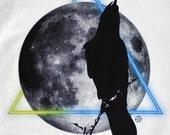 Graphic T shirts LUNAR GEOMETRY Organic Tee Black Raven and Moon Mens Tshirts