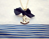 Anchor necklace, Nautical necklace, Sea side love necklace, Gold anchor necklace with a blue ribbon, Long nautical necklace