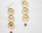 Alhambra - spanish dreams - long gold earrings sparkling filigree shells - long earrings oriental inspired with genuine pearls - europe