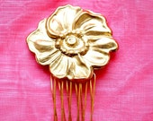 Gold Comb - Vintage Poppy - a beautiful comb to adorn your hair - a vintage poppy piece on a golden comb