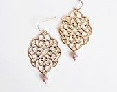 Exquisite charm - long dangle filigree earrings with delightful Swarovski pearls in powder rose shade - missbabacilu