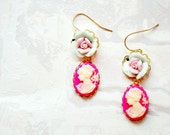 Pink lady cameo earrings with porcelain roses - a delicate pair of dangle earrings in strong pink, mint and pastel pink